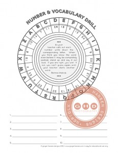 vocab and number wheel